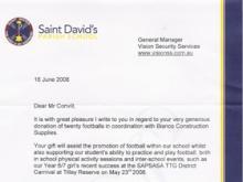 Saint David's Thank You Letter